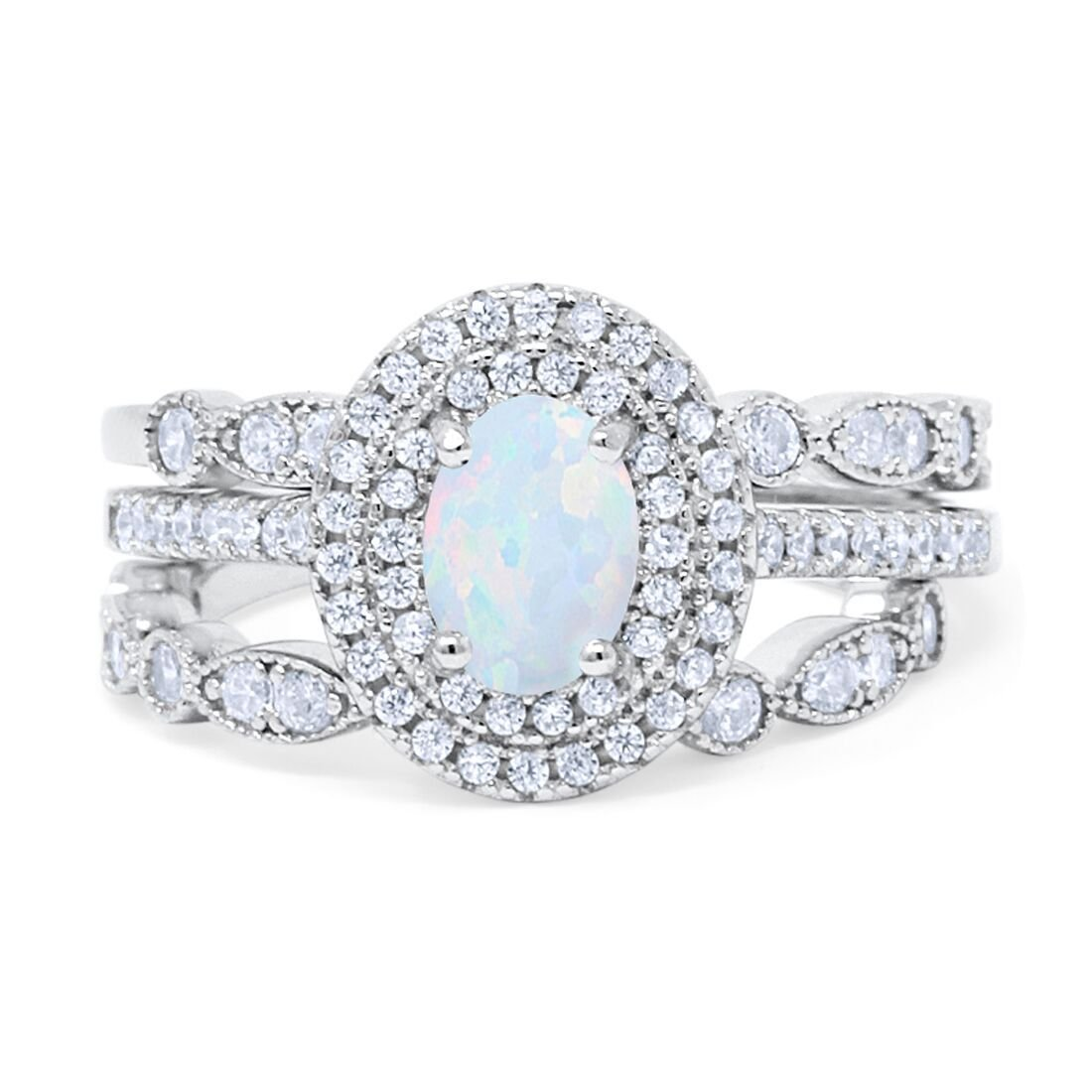 Blue Apple Co Three Piece Double Halo Art Deco Wedding Band Engagement Ring Oval CZ 925 Sterling Silver Choose Color