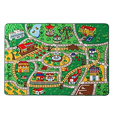 "Kids Rug Street Map with Road Fun Play Rug Children Area Rug for Bedroom Playroom & Nursery - Non Skid Gel Backing (39"" x 56"")"