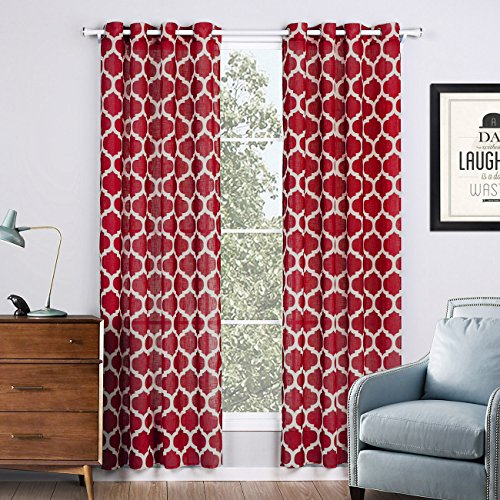 - Jaoul Linen Textured Semi Sheer Curtains for Living Room Bedroom Geometric Moroccan Lattice Print Grommet Voile Drapes, 52 x 84 Inch, 1 Panel (Red)