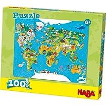 Haba 302003 100pieza(s) Puzzle - Rompecabezas (Jigsaw Puzzle, Mapas, Niños, World Map, 6 año(s), Cartón)