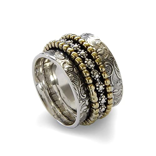 Amazon.com: Floral spinners band, Brass and Sterling Silver ...
