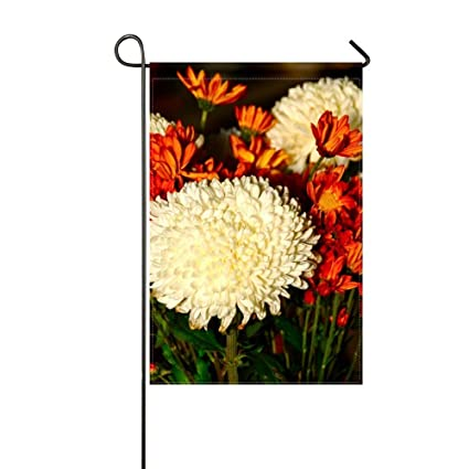 Amazon zlu garden flag chrysanthemums flowers white red flower zlu garden flag chrysanthemums flowers white red flower 12x18 incheswithout flagpole mightylinksfo