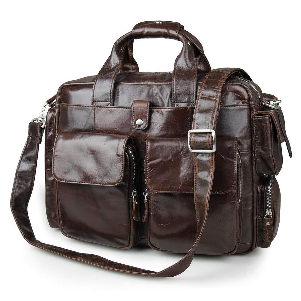 Amyannie Laptop Messenger Bag Leather Crossbody Bag 15'' Men's Briefcase Laptop Bag Shoulder Bag Briefcase Laptop Messenger Bag