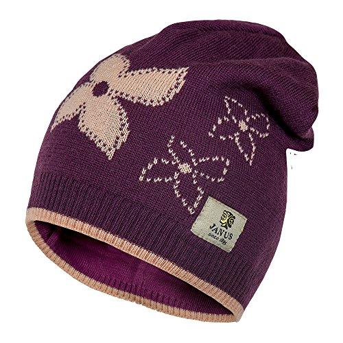 Janus 100% Merino Wool Girls Beanie Hat Machine Washable. Made In Norway. (Purple, 51/53) (Save Knit Hats Children)