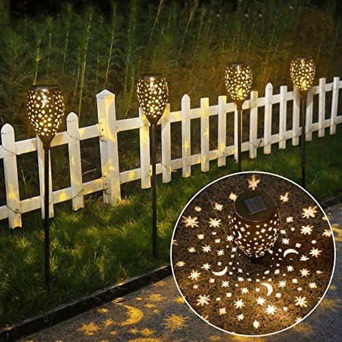 Star Moon Solar Lights Decorative Solar Lamps Garden Stake Light, Solar Lights Outdoor Garden Stake Light for Pathway Yard Lawn Patio Bronze 2 Packs