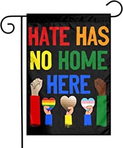 Hate Has No Home Here Garden Flag for Outside, Double Sided BLM Lawn Sign, Human Rights Justice Sign, Feminism Sign, Protest Sign Banner for Home Garden Yard Decorative 12 x 18 in