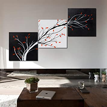999store Multiple Frames Modern Abstract Painting Tree Stems Wall Decor Landscape Paintings On Canvas Stretched