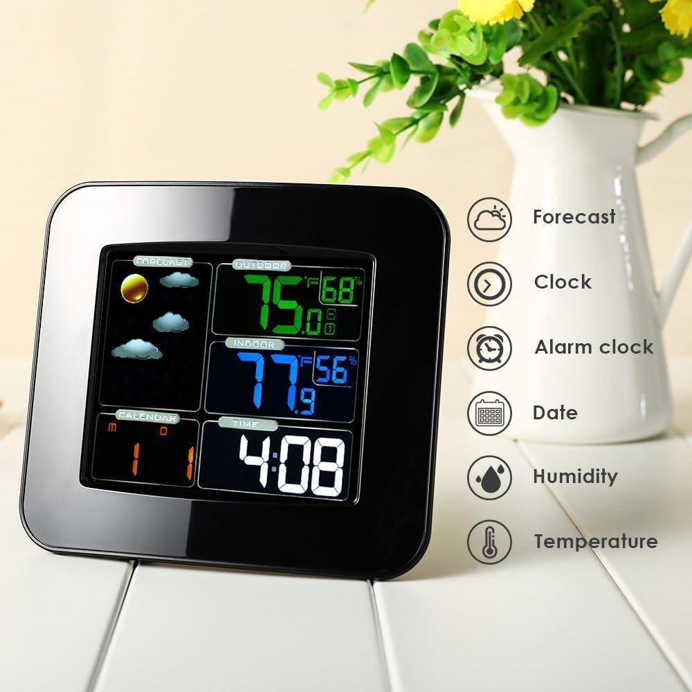 液晶デジタルイン/屋外温度湿度バロメーターワイヤレス天気ステーションカラースヌーズ目覚まし時計天気予報メーター