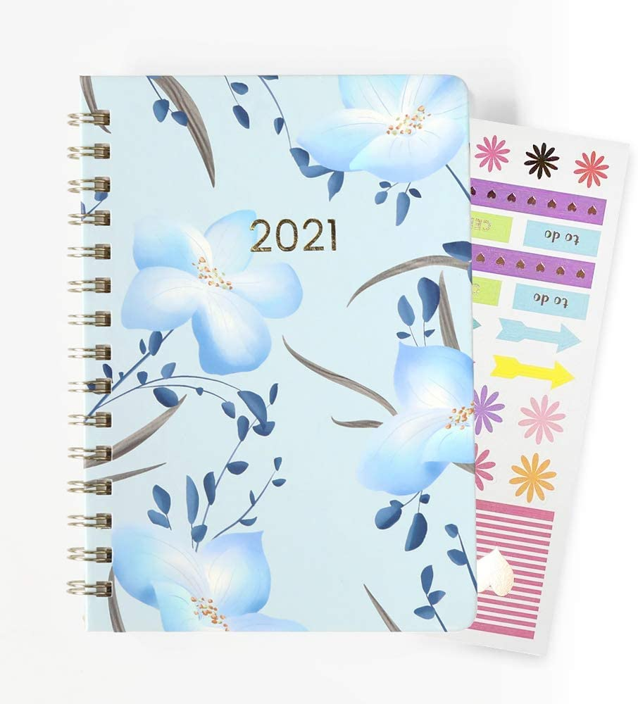 """LOVE MEI Daily Planners 2021 Calendar Yearly Day Planner ( 2021 Jan- 2021 Dec) - 6"""" x 8.25"""" - Weekly/Monthly Agenda Organizer with Stickers and BookmarkFor School/ Office/Home/Business Calendar"""