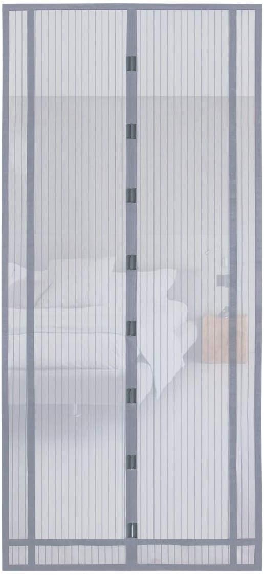 Sekey 220x130 cm magnético cortina para protección contra insectos, magnético Mosquitera para puerta para balcón, sótano Puerta, terrazas para puerta (se puede cortar en altura y ancho), Gris