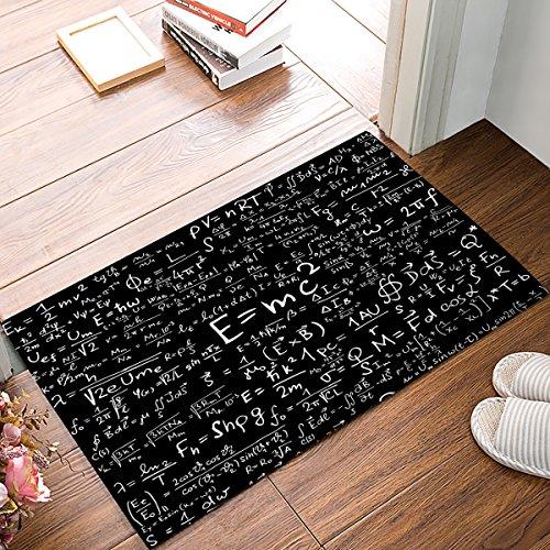 EZON-CH Non Slip Physics Formula Science Geek Black Home Bathroom Bath Shower Bedroom Mat Toilet Floor Door Mat Rug Carpet Pad Doormat, 23.6x15.7 -