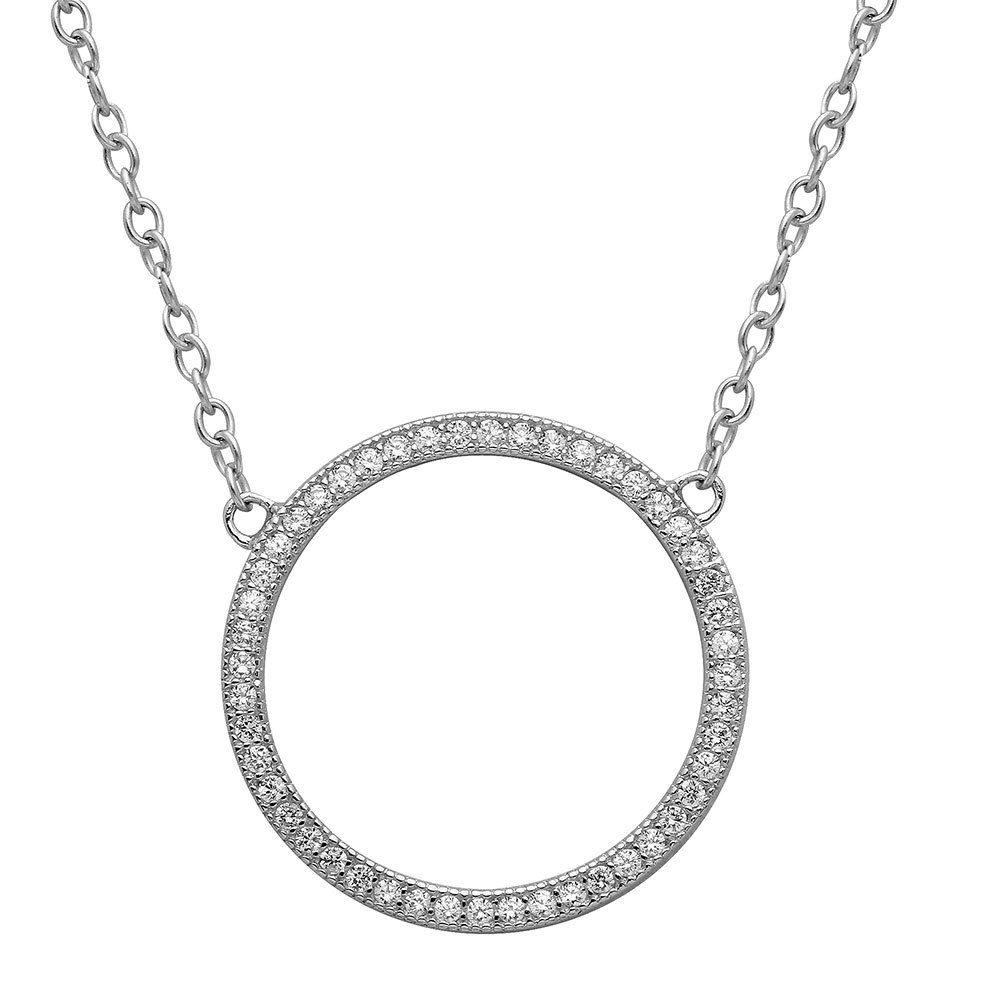 SURANO DESIGN JEWELRY Sterling Silver Necklace w//Open Circle CZ Encrusted Pendant