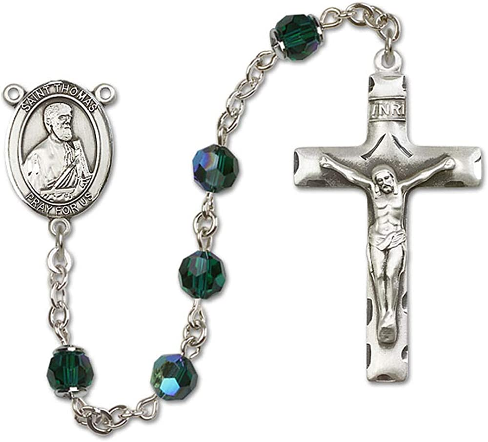 Austrian Tin Cut Aurora Borealis Beads 6mm Swarovski All Sterling Silver Rosary with Emerald Thomas the Apostle Center is the Patron Saint of Architects//Blind People. St