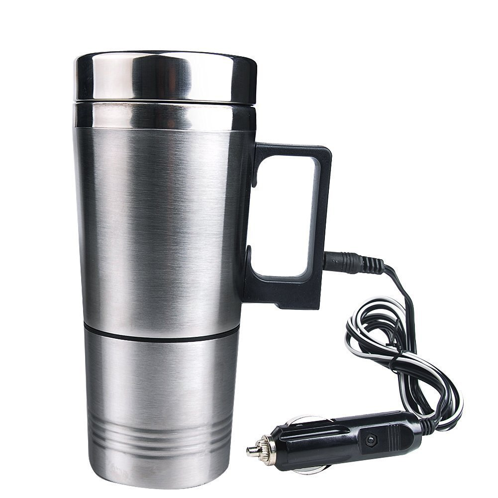 Mengshen A-CA03 Water Heater Mug, Vacuum Insulated Car Electric Kettle Heated Stainless Steel Car Cigarette Lighter Heating Cup Coffee Cup with Charger