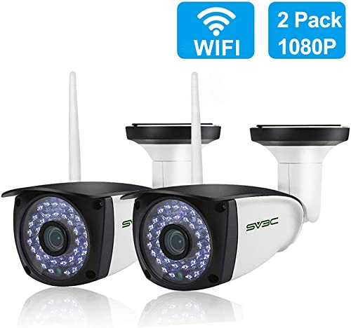 New 2 Pack WiFi Camera Outdoor, SV3C 1080P HD Two Way Audio Security IP Cameras, Motion Detection Surveillance Camera, IR LED Night Vision CCTV Cameras for Indoor Outdoor, Support Max 128GB SD Card