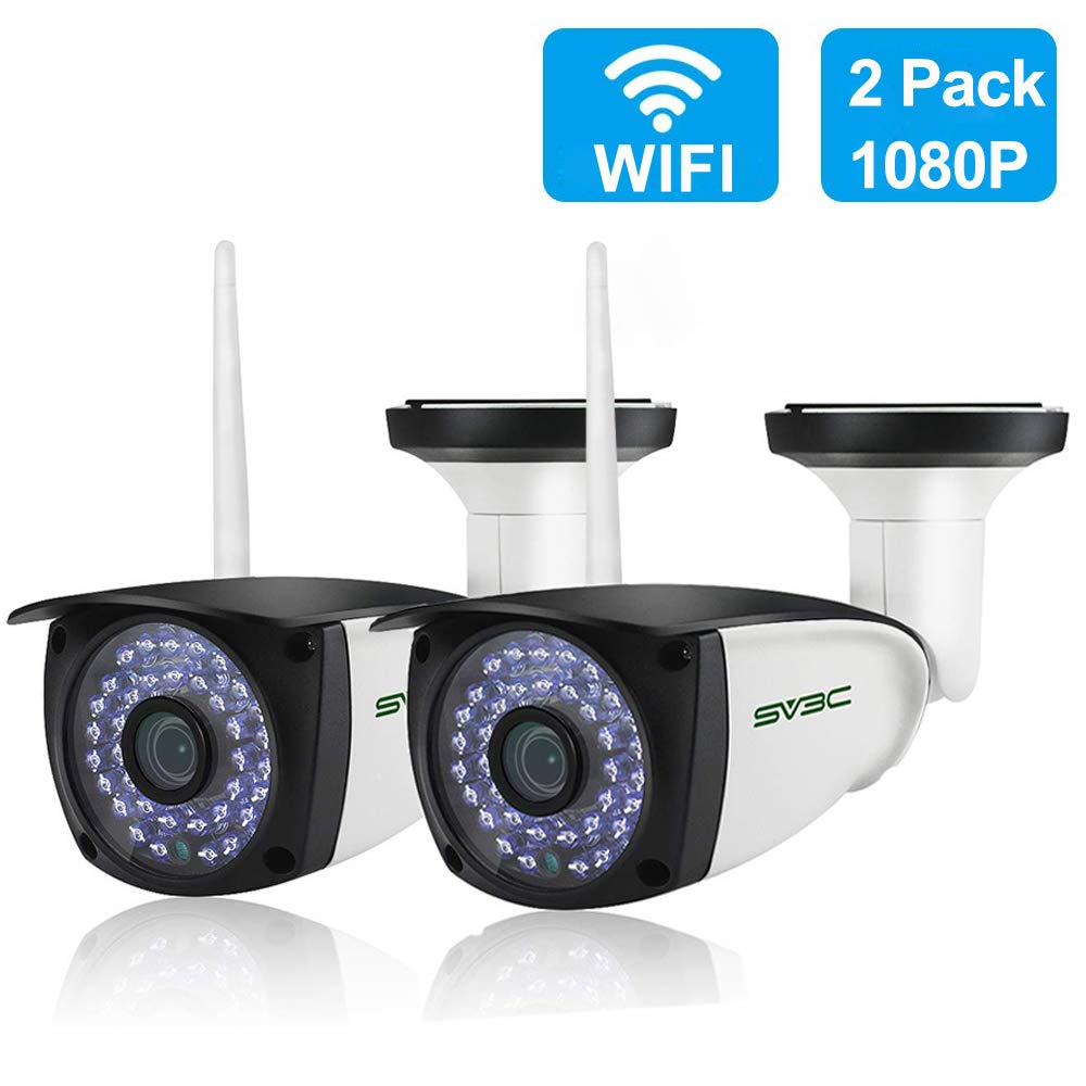 [New 2 Pack] WiFi Camera Outdoor, SV3C 1080P HD Two Way Audio Security Camera, Motion Detection Surveillance CCTV Cameras, IR LED Night Vision IP Cameras for Indoor Outdoor, Support Max 128GB SD Card by SV3C