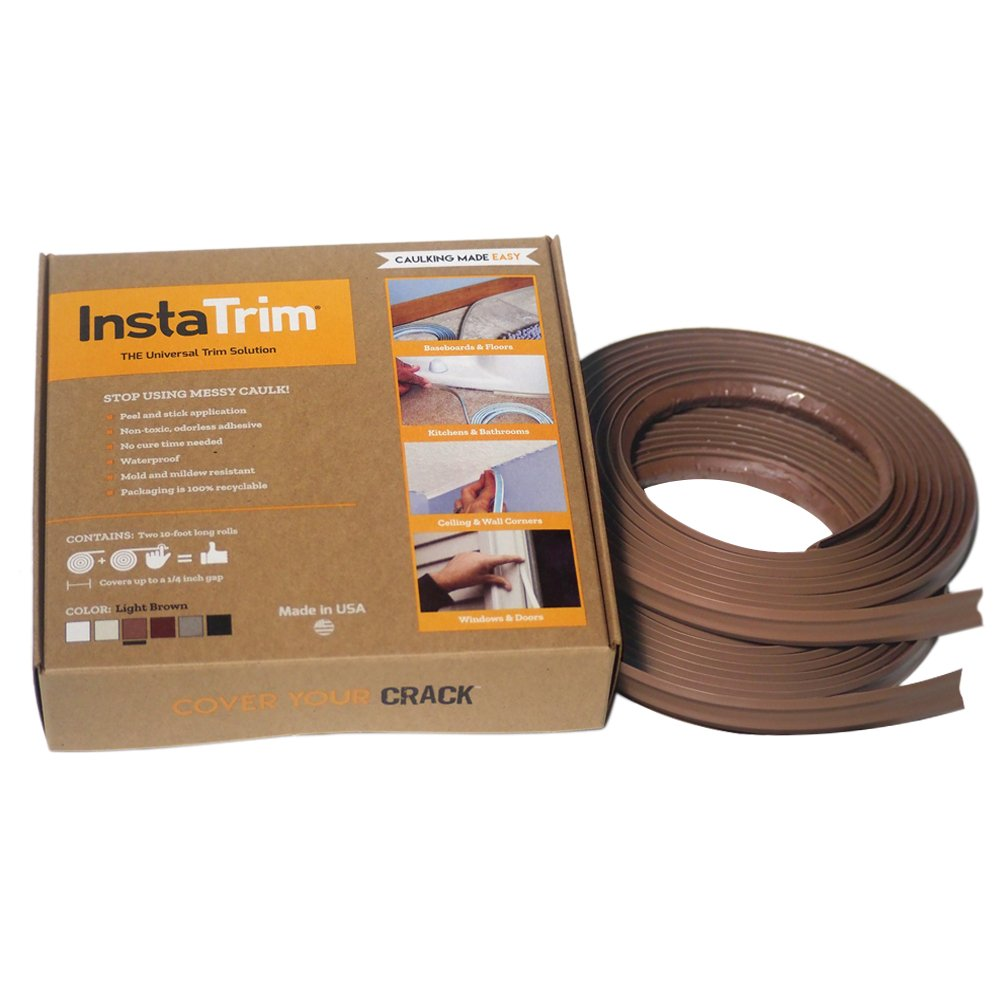 InstaTrim - Universal, Flexible, Adhesive Trim Solution - Cover Gaps Between Walls, Floors, Ceilings, and More (Light Brown), Pack of 2