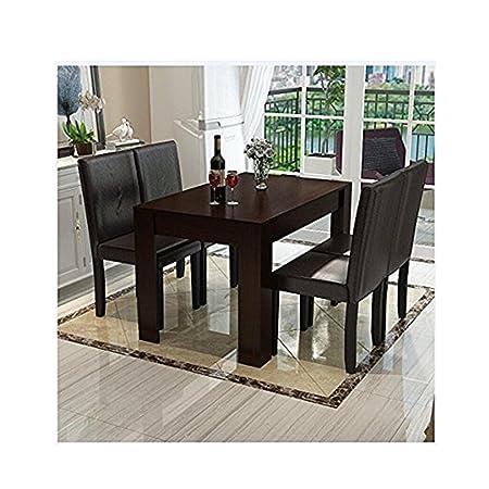 5 pc madera cojín de piel sintética 4 persona mesa y sillas ...