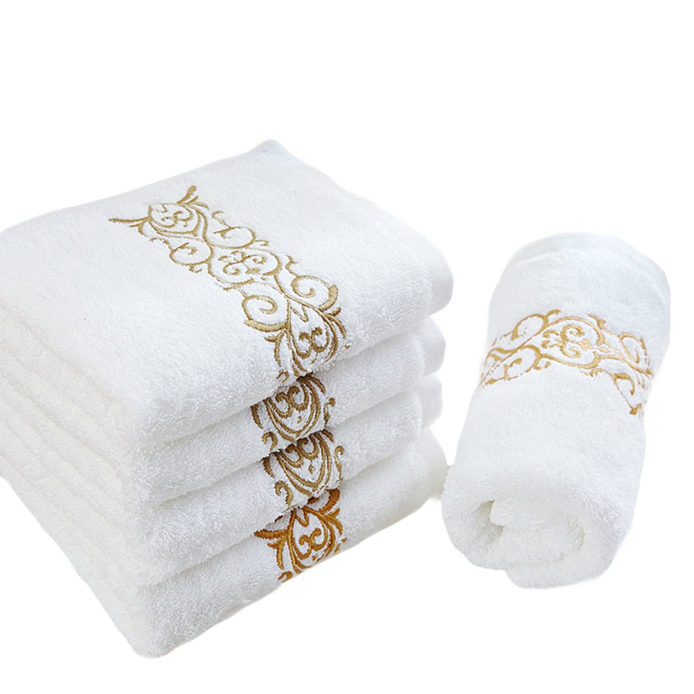 6PCS Hand Towels ,  Bathroom Fingertip Guest Towel Set ,  Decorative Clearance Cotton Bath Embroided Soft Washcloth ,  Machine Washable Luxury White With Golden  Washrag For Kitchen ,  Sport ,  Office