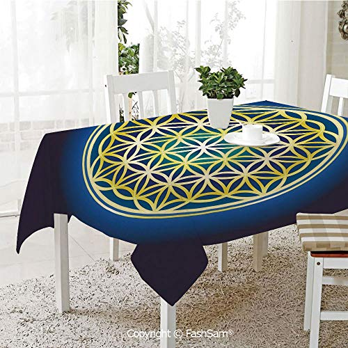 (FashSam 3D Print Table Cloths Cover Nature Spirals Flower of Life Artistic Energy Sacred Illustration Waterproof Stain Resistant Table Toppers(W60)