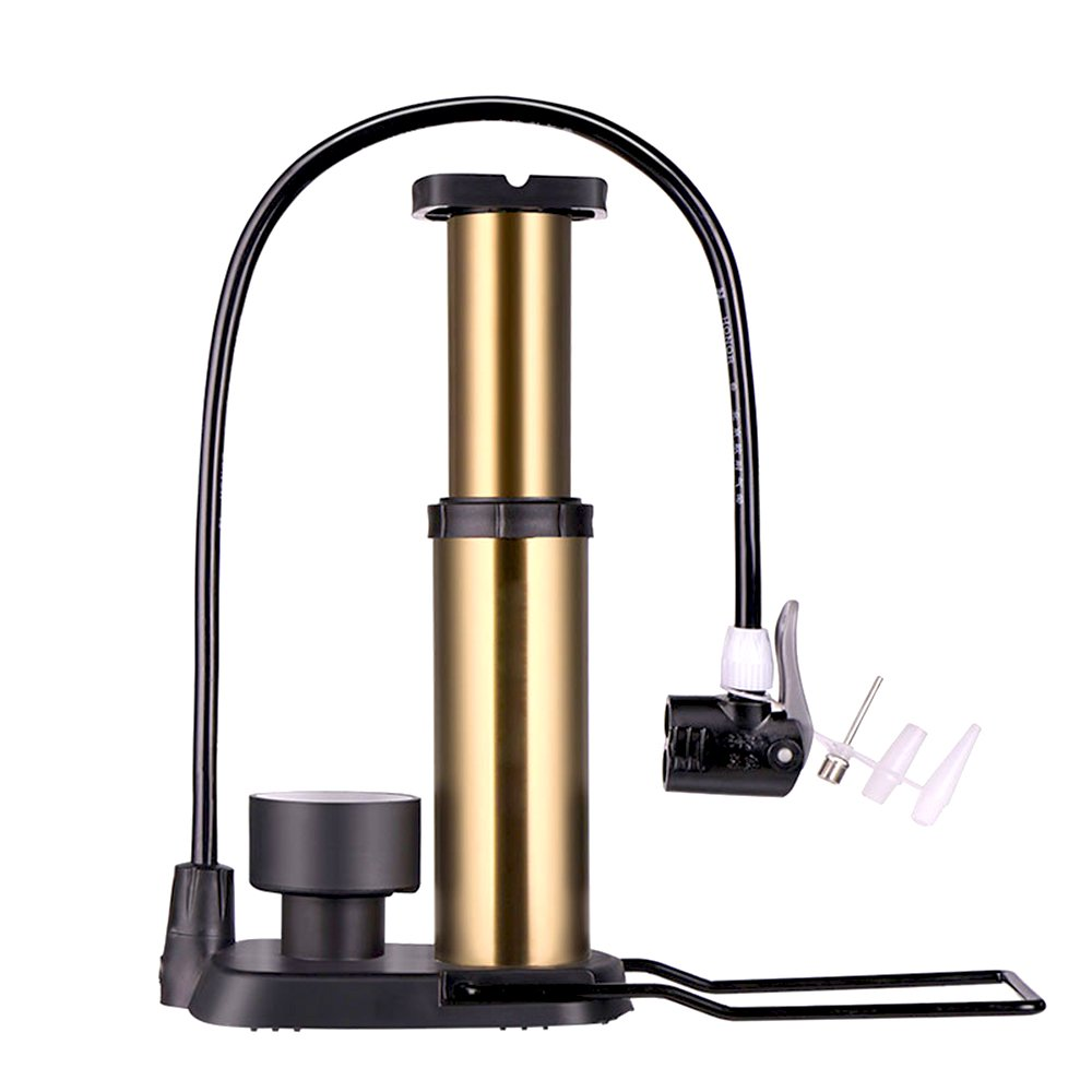 USUNO Portable Lightweight Aluminum Alloy Floor Pump Foot Bike Pump Ball Pump Air Pump With Gauge Compatible with Presta & Schrader Valve, High Pressure to 160 PSI.