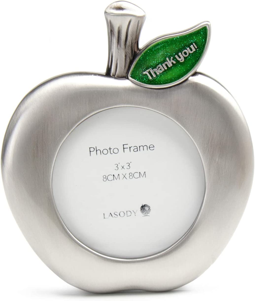 Lasody Apple Shaped Zinc Alloy Picture Frame Thank You Teacher Frame Thanksgiving Gift