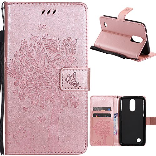 LG K10 2017 Wallet Case,HAOTP Love Tree Embossed Plants PU Flip Stand Credit Card ID Holders Soft TPU Inner Bumper Leather Case for LG K20 V/LG K20 Plus/LG Harmony/LG LV5 Rose Gold - Embossed Metallic Wallet