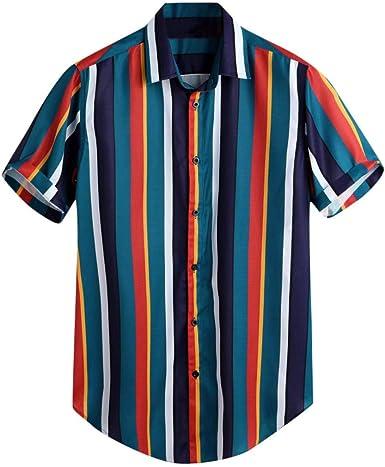 SoonerQuicker Camisa Tops T Shirt 2019 New Moda Blusa Transpirable de Manga Corta del Verano Raya Floja Ocasional Camisa botón impresión a Rayas Camiseta Hombre: Amazon.es: Ropa y accesorios
