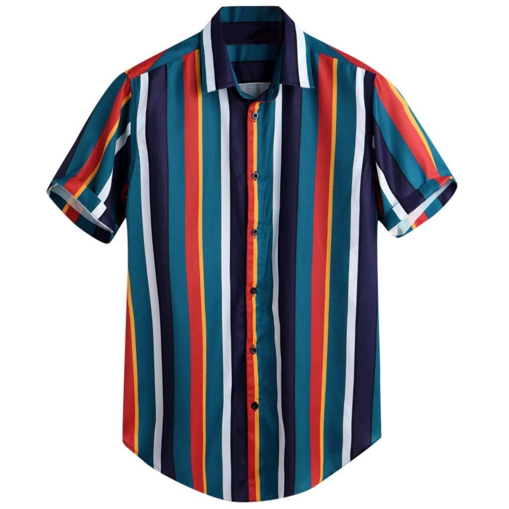 Men's Striped Print, Sharemen Button Short Sleeve Top Shirt Summer Casual Vacation T-Shirt(Blue,M)