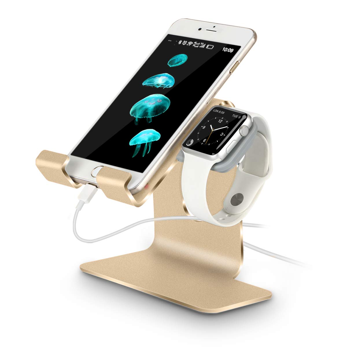 Tranesca 2 in 1 Apple Watch Stand and Universal Desktop Cell Phone Stand, Advanced 4mm Thickness Aluminum Stand Holder for iPhone and Apple Watch (Both 38mm & 42mm), Gold