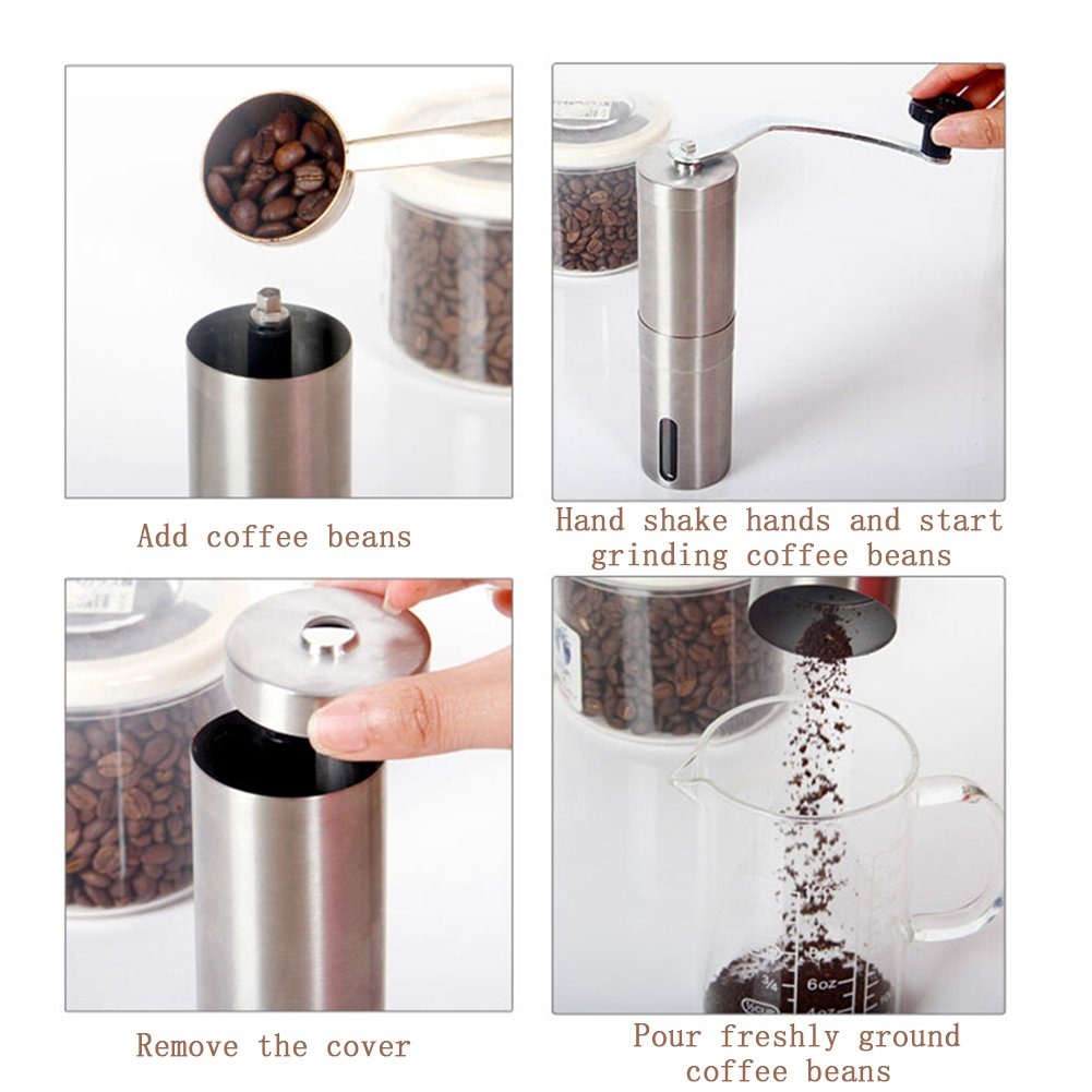 Molinillo de café manual, máquina de moler de mano portátil, acero inoxidable, molinillo de granos de café de cerámica para quemar cómics, para acampada, ...