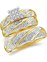 10k yellow and white 2 two tone gold mens and ladies couple his hers trio 3 three ring bridal matching engagement wedding ring band set round diamonds - Wedding Rings Amazon