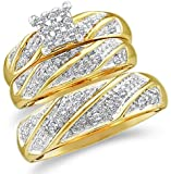 Sizes - L = 8, M = 11.5 - 10k Yellow and White 2 Two Tone Gold Mens and Ladies Couple His & Hers Trio 3 Three Ring Bridal Matching Engagement Wedding Ring Band Set - Round Diamonds - Princess Shape Center Setting (1/4 cttw) - Please use drop down menu to