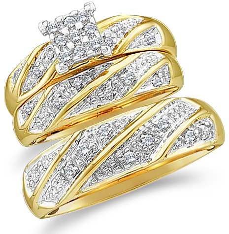 Sizes - L = 8.5, M = 9.5 - 10k Yellow and White 2 Two Tone Gold Mens and Ladies Couple His & Hers Trio 3 Three Ring Bridal Matching Engagement Wedding Ring Band Set - Round Diamonds - Princess Shape Center Setting (1/4 cttw) - Please use drop down menu to by Sonia Jewels