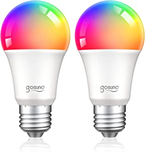 Alexa Smart Light Bulb, Gosund E26 8W 75W Equivalent A19 Led RGB Color Changing Dimmable Bulb, Work with Google Home Amazon Echo, 2.4Ghz WiFi Only, No Hub Required 2 Pack