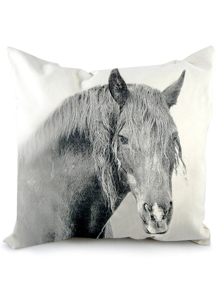 American Barnyard Collection Canvas Throw Pillow: 20'' Horse