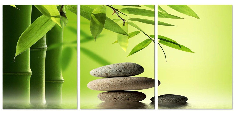 CanvasCEO ZEN Bamboo & Stone 3 Panel Set Relax Spa Botanical Asian Wall Art Decor Canvas Framed Ready to Hang Print Fiberboard (24x16x1'' (60x40x2.5cm) x3 Panels)