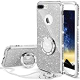 bling bumper case - iPhone 7 Plus Case, iPhone 8 Plus Case, Glitter Cute Phone Case Girls with Kickstand, Bling Diamond Rhinestone Bumper Ring Stand Thin Soft Protective iPhone 7 Plus/ 8 Plus Case for Girl Women - Silver