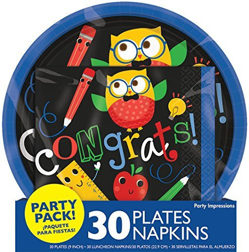 Price comparison product image Graduation Party Pack Plates and Napkins. Serves 30.