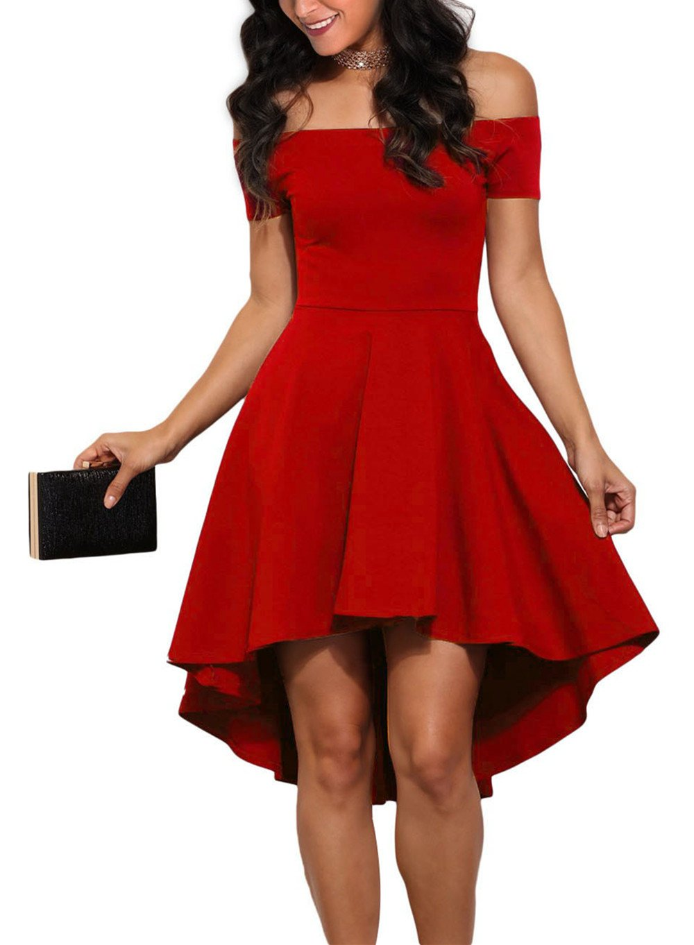 Sidefeel Women Off Shoulder Short Sleeve High Low Skater Dress Small Bright Red