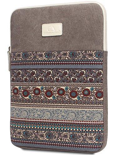 14 pulgadas de la manga del ordenador portátil, BLOOMSTAR bohemio lienzo protector del bolso del cuaderno de la computadora cubierta de la caja para MacBook Pro MacBook Air (horizontal, azul) Gris vertical