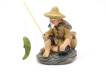 XCXpj - Adorno de Acuario para pecera, Diseño de Pescador Chino: Amazon.es: Productos para mascotas