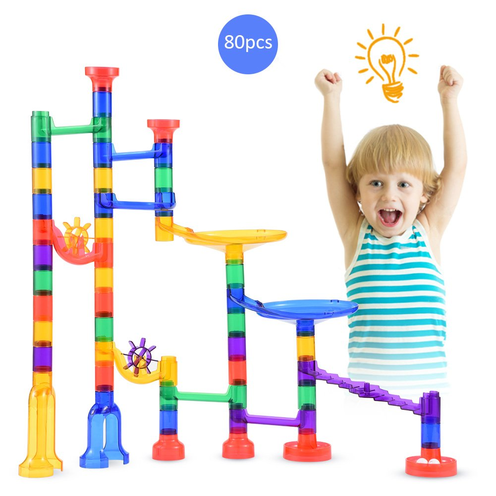 Ej.life Marble Run Set,Marble Track Race Game STEM Learning Toy,Educational Construction Building Blocks Toy, Marble Set Gift for Boys and Girls, 80 PCS