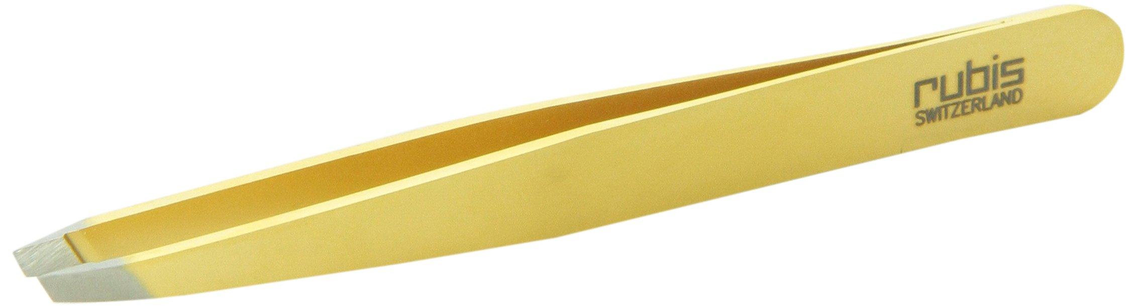 Rubis Switzerland Slanted Tip Tweezer, Gold by Rubis Switzerland