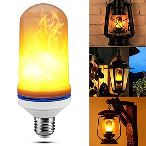 4modes Led Flame Effect Simulated Fire Light Bulb E27 Flickering Lamp Xmas Decor Landscape & Walkway Lights