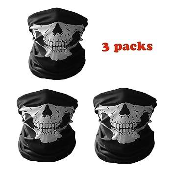 Ploopy Media Mascara Calavera, Motocicleta Poliester Bufanda, Bufanda para cara y cuello, Pasamontañas