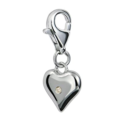 Diamond Charm, Sterling Silver, Round Brilliant Cut, 0.01 Carat Diamond Weight, Model DT012, by Hot Diamonds