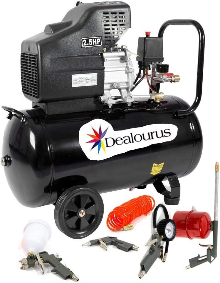 Dealourus 9,6 CFM 2,5 HP y kit de herramientas de 5 piezas Compresor de aire port/átil de 50 litros
