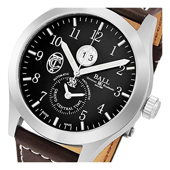 Ball Engineer Master II Grand Central Terminal Limited Edition Black Face  Date Brown Leather Strap Swiss Automatic Mens Watch GM2086C-L2-BK