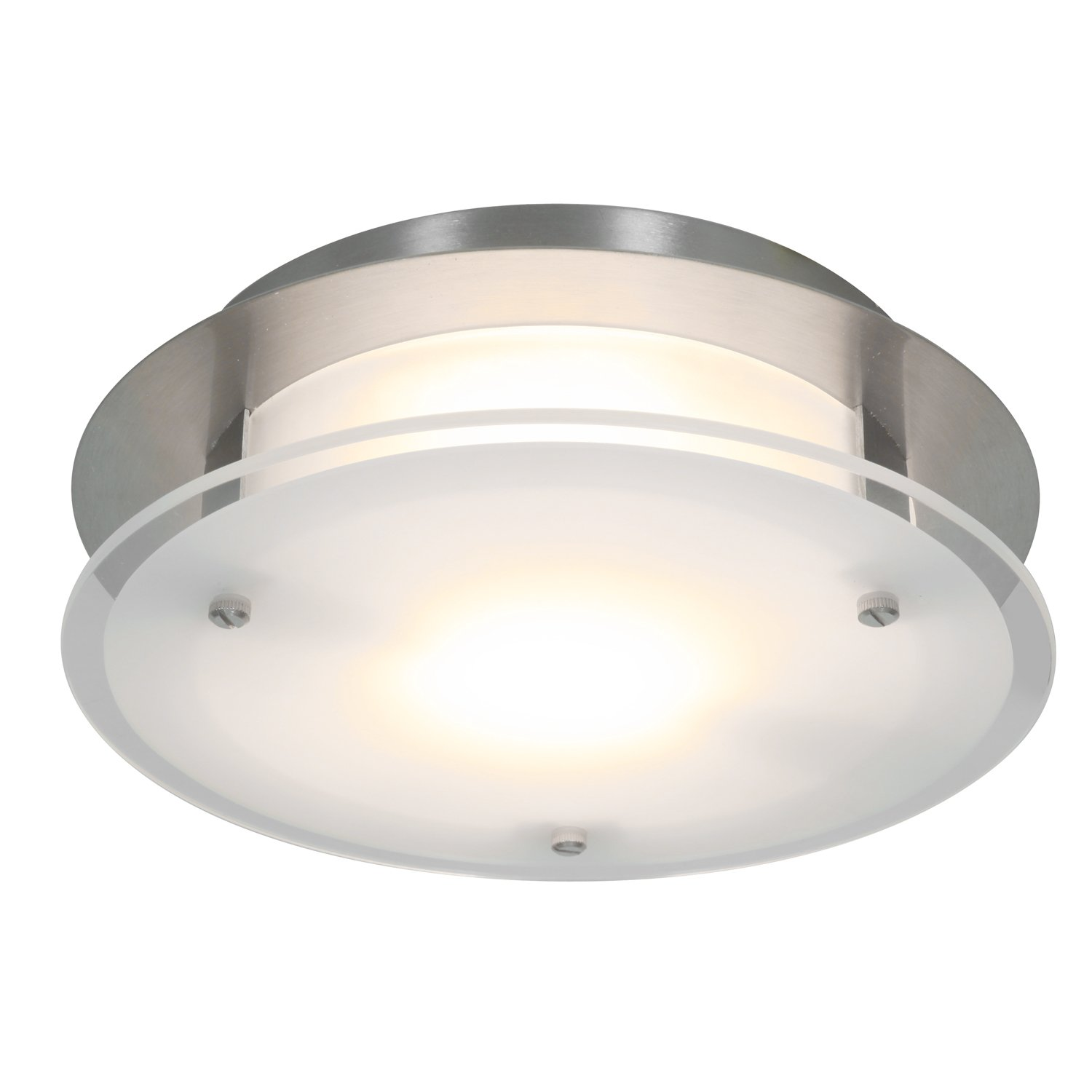 Access Lighting VisionRound 10'' LED Flush-Mount - Brushed Steel Finish with Frosted Glass Shade